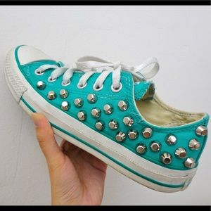 Teal Studded Converse